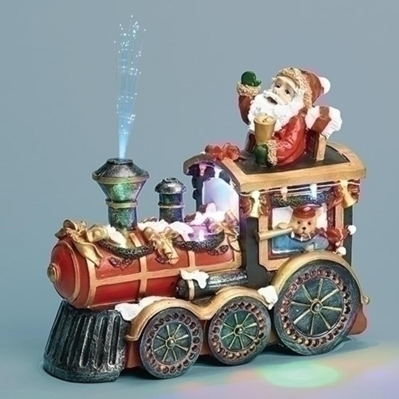 """Roman 8.5"""" LED Lighted Fiber Optic Musical Jolly Santa in..."""