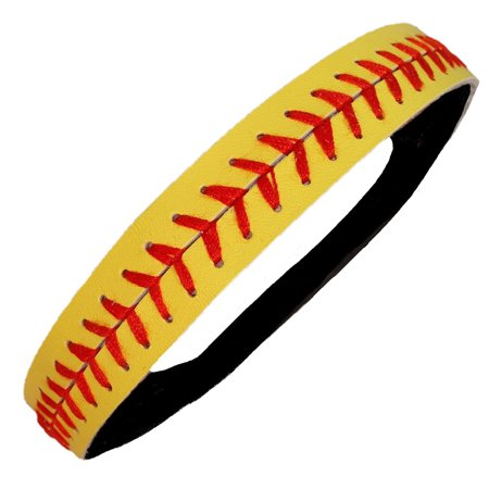 Kenz Laurenz Softball Headband Non Slip Leather Sports Head Bands Yellow (Leather Head)