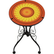 """22"""" Sunflower Design Glass & Metal Side Table by Trademark Innovations"""