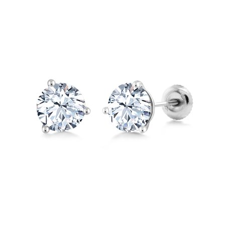 18K White Gold 2.00 Ct 6mm White Created Sapphire 3-Prong Martini Stud