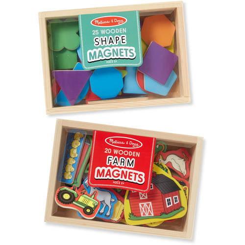 Melissa & Doug Wooden Magnets Set Shapes and Farm (45 pcs) by Melissa %26 Doug