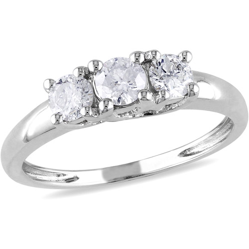 Miabella 1/2 Carat T.W. Diamond Three-Stone Engagement Ring in 14kt White Gold, IGL Certified
