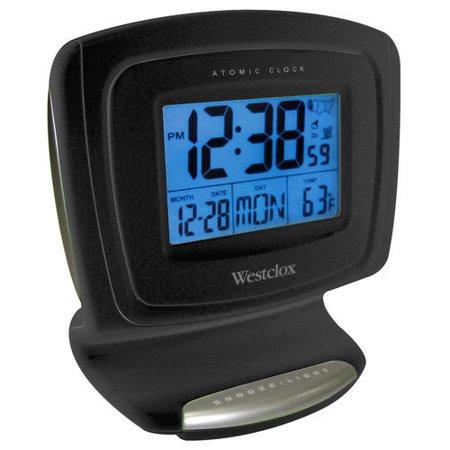 Westclox Atomic Lcd Alarm Clock Black Walmart Com