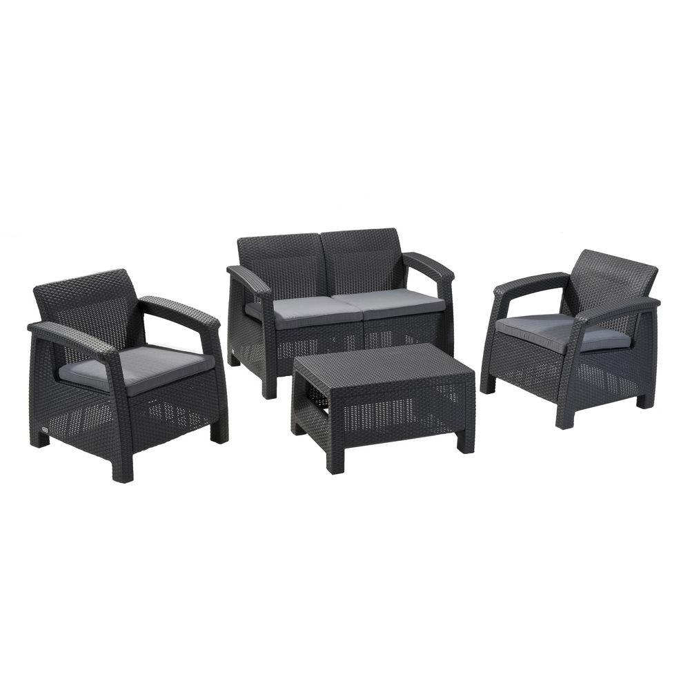 Keter Corfu All Weather Resin 4 Piece Patio Conversation Set, Charcoal | 212584