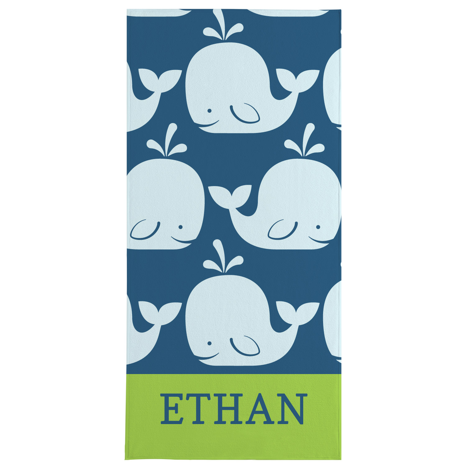 Personalized Whale Of A Tale Beach Towel - Available in Pink or Green