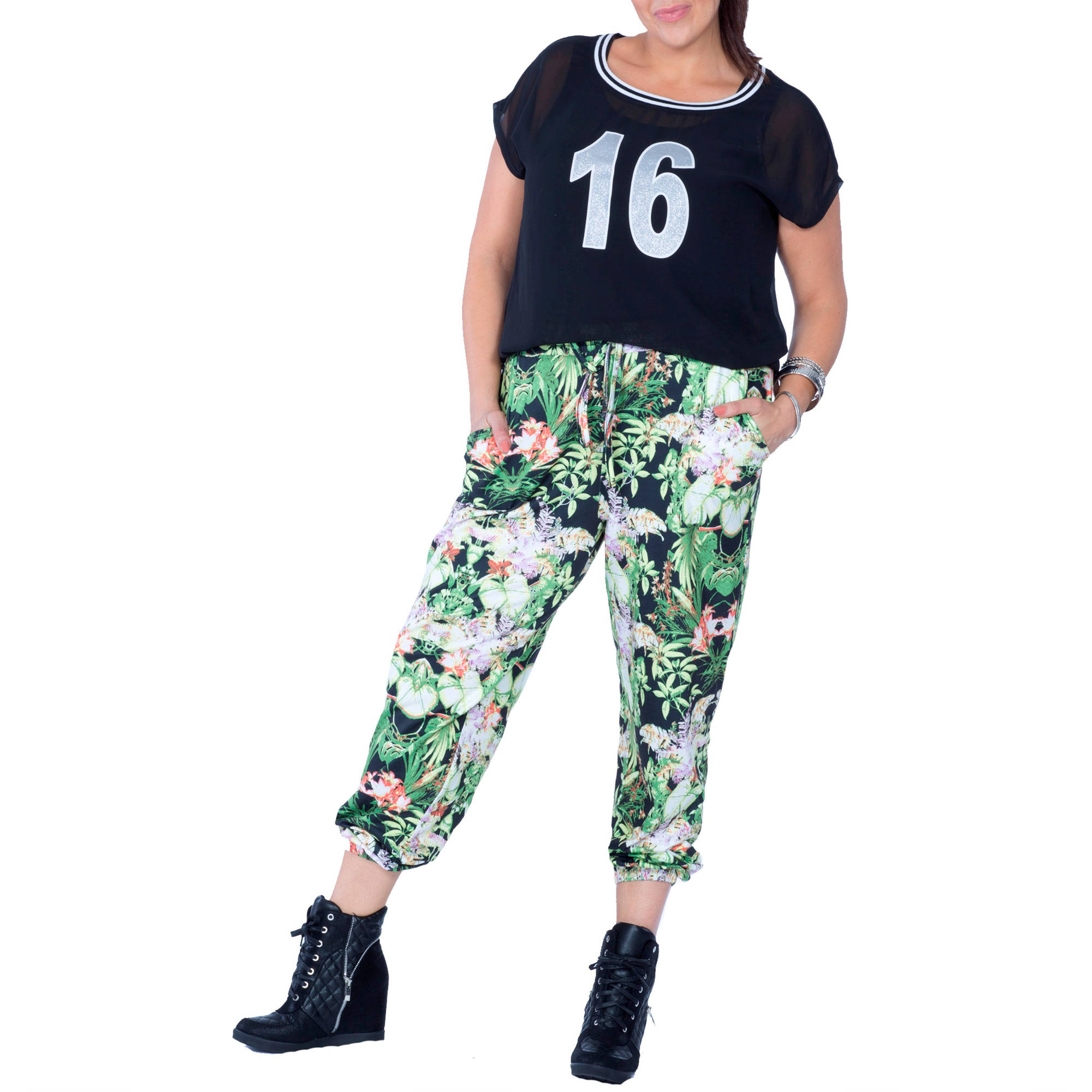 Plus Moda Women's Plus-Size Tropical Print Soft Jogger Pants w/Drawstring