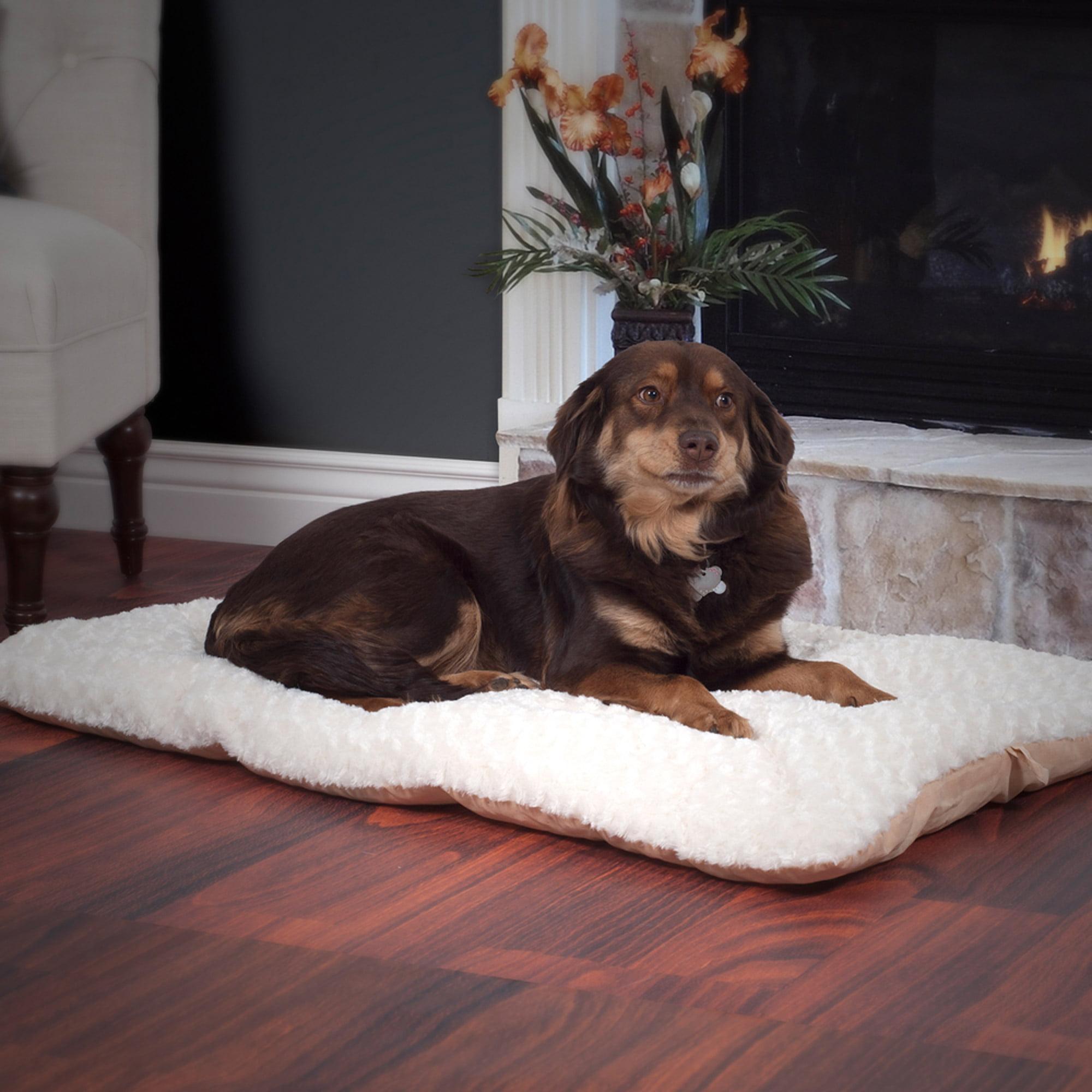 PETMAKER Lavish Cushion Pillow Furry Pet Bed, Latte
