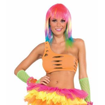 Womens Club Candy Rave Diva Costume Orange Stretch Cut Bra Top