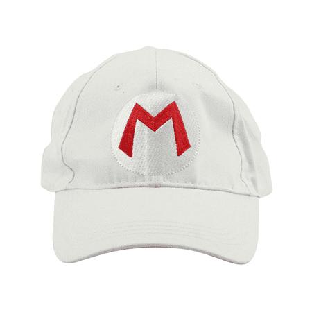 Mario M Logo White Baseball Cap Hat Super Mario Brothers Costume Nintendo Kart - Kmart Costume