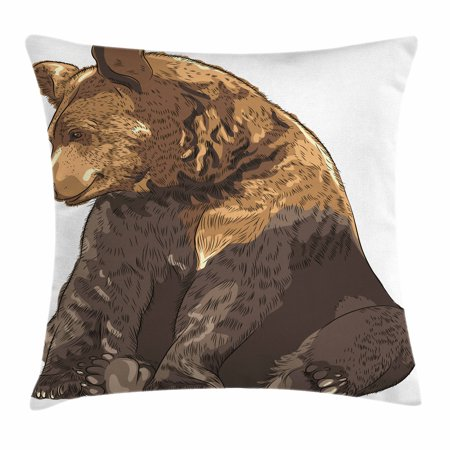 Bear Throw Pillow Cushion Cover, Big and Cute Mammal Sitting Smiling Wildlife Beast Nature Inspired Cartoon Mascot, Decorative Square Accent Pillow Case, 18 X 18 Inches, Taupe Brown, by Ambesonne ()