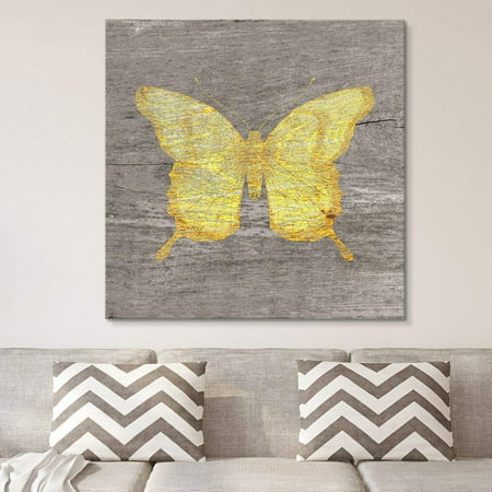 wall26 - Square Canvas Wall Art - Yellow Butterfly Wood Effect Canvas - Giclee Print Gallery Wrap Modern Home Decor Ready to Hang - 12x12 inches Square Canvas Prints