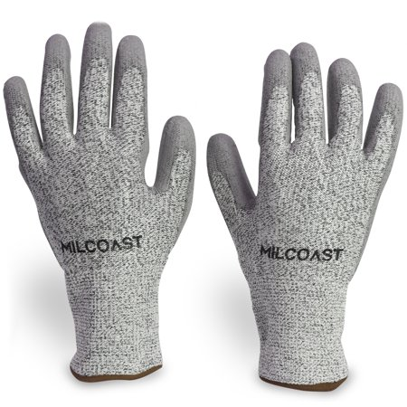 Milcoast Level 5 Cut Resistant Gloves - Polyurethane Palm Coated for  Cutting, Kitchen, Garden, Work and Handling - Pack of 3 Pairs (Large)