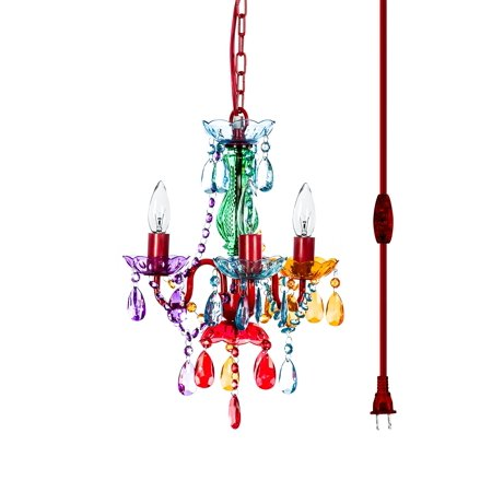 Acorn Mini Chandelier - the original gypsy color 3 light mini plug-in gypsy chandelier for h16