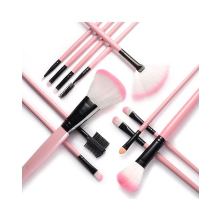 Zodaca 12pcs Makeup Brushes Brush Set Kit Professional Cosmetic Set Powder Foundation Eyeshadow Eyeliner Blush Contouring Blending Brush Set with Pink Storage Case Bag - Pink Face Makeup For Halloween