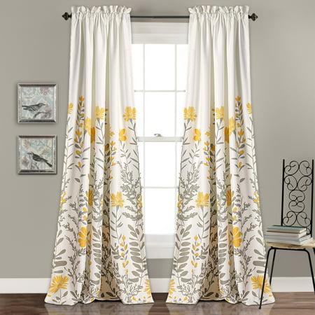 84 Curtain Set (Aprile Room Darkening Window Curtain Yellow/Gray Set, 52