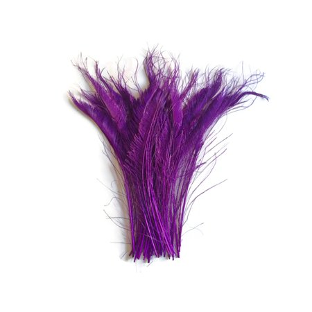 50 Pieces - Purple Bleached Peacock Swords Cut Wholesale Feathers (Bulk) (Bulk Swords)