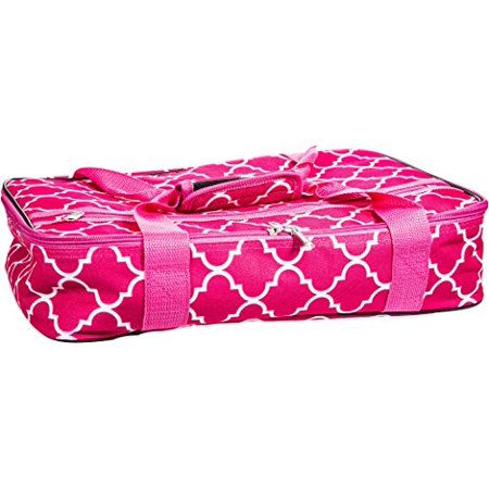 Palais Dinnerware Insulated Casserole Carrier - With Zip Closure -  Attractive Design, with Strap and Side Pocket (Quatrefoil Pink)