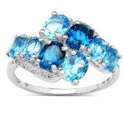 Malaika  3.00 Carat Genuine London Blue Topaz and Swiss Blue Topaz .925 Sterling Silver Ring