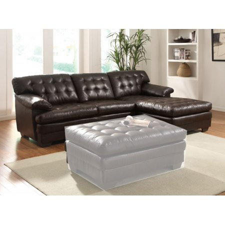 Simple Relax 2pcs Nigel Dark Brown Leather Sectional Sofa Right
