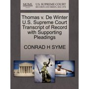 Thomas V. de Winter U.S. Supreme Court Transcript of Record with Supporting Pleadings