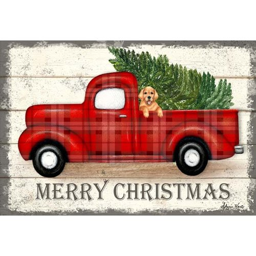 The Holiday Aisle Merry Christmas Red Truck Graphic Art Print On