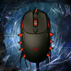 2000 Spider - Aula Spider Queen 800-1200-1600 -2000 Four Gear DPI Red backlight Comfortable Ergonomic Design Game Mice, Black