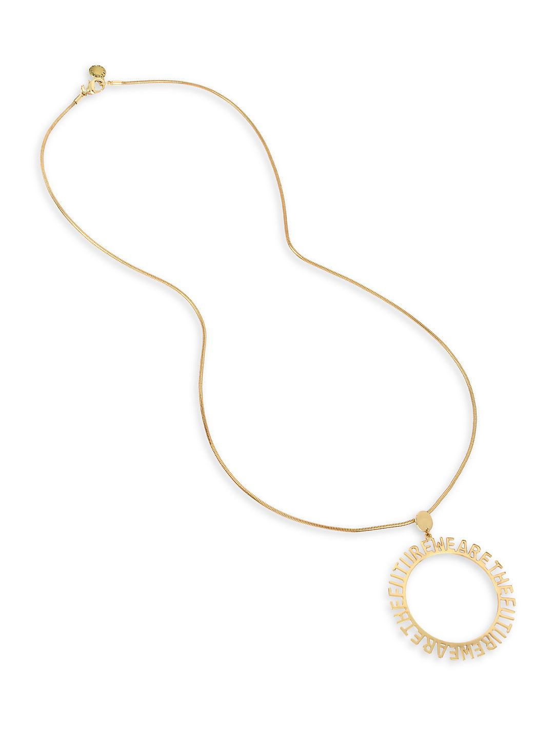 Affirmation Goldtone Circle Pendant Necklace