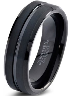 Charming Jewelers Tungsten Wedding Band Ring 6mm for Men Women Comfort Fit Black Beveled Edge Polished Brushed Lifetime Guarantee