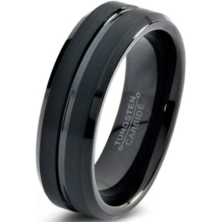 Charming Jewelers Tungsten Wedding Band Ring 6mm for Men Women Comfort Fit Black Beveled Edge Polished Brushed Lifetime Guarantee Chic Comfort Fit Wedding Ring