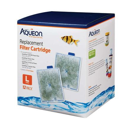 Aqueon Filter Cartridge, Large, 12-Pack (Aqueon Replacement Filter Cartridges Large 6 Pack)