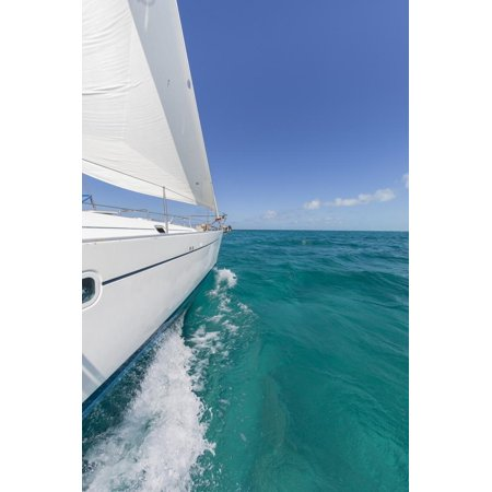 Bahamas, Exuma Island. Sailboat under Sail in Ocean Print Wall Art By Don