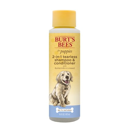 Burt's Bees for Puppies Tearless 2 in 1 Shampoo and Conditioner with Buttermilk and Linseed Oil | Dog Shampoo, 16