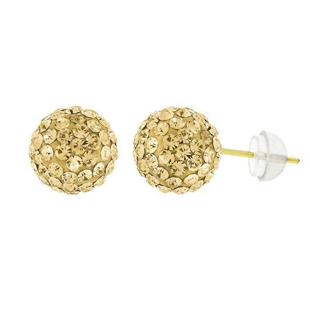 Vintage Austrian Crystal (14k Yellow Gold Womens 8mm Champagne Austrian Crystal Ball Studs Earrings)