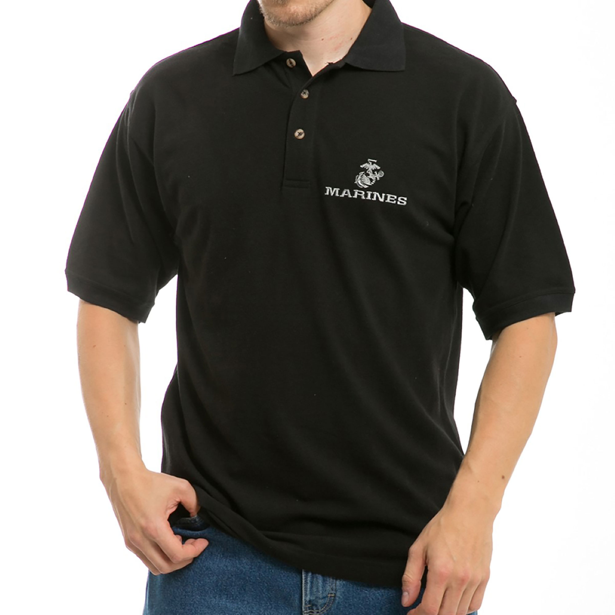 Rapid Dominance Embroidered Military Chest Sleeves Polo Shirt Marines, Style S31