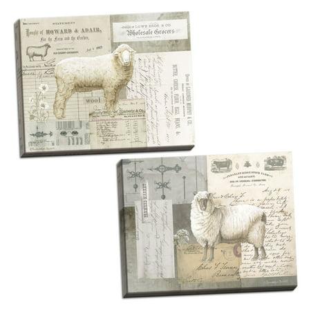 Gango Home Decor Vintage Sheep On Ephemera I & II by Gwendolyn Babbitt (Ready to Hang); Two 16x12in Hand-Stretched (Vintage Ephemera Altered Art)