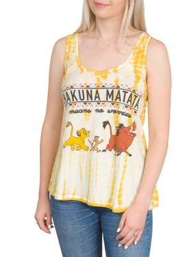 7642e049 Product Image Juniors' Hakuna Matata Lion King Licensed Criss Cross Back Graphic  Tank