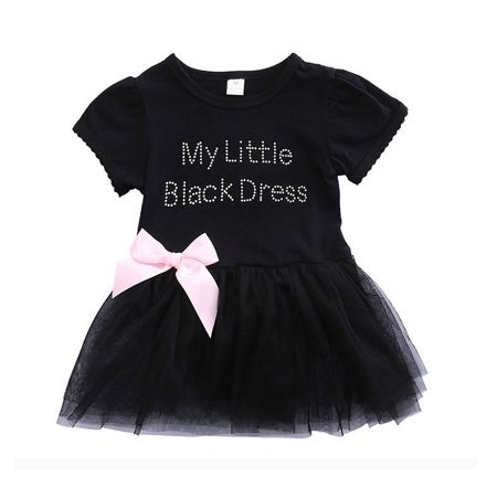 My Little Black Dress Baby Girls Kids Bridesmaid Pageant Formal Party Tutu Tulle Princess Dress](Black Baby Girl)