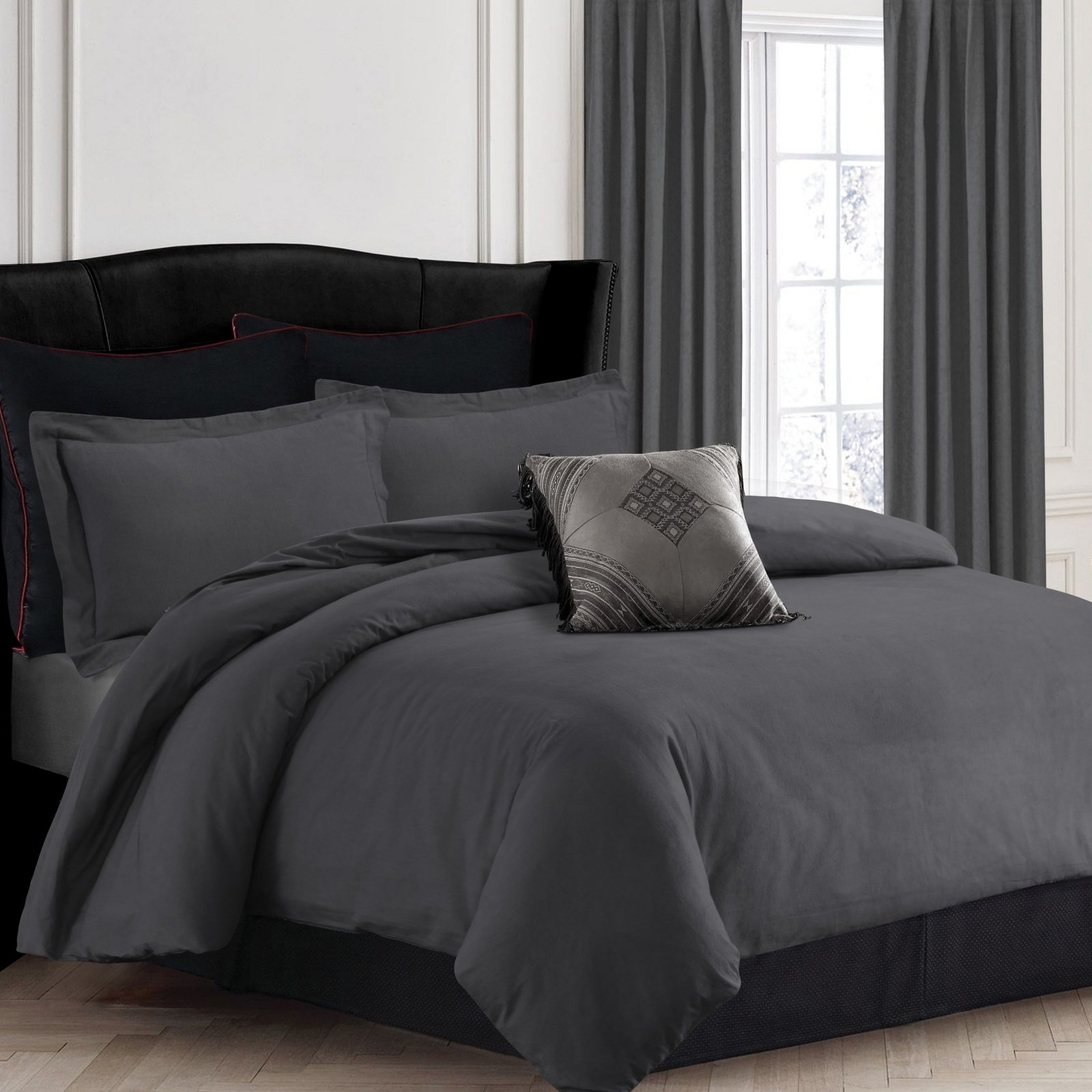 200-GSM Solid Flannel 3 Piece Duvet Cover Set by Tribeca Living