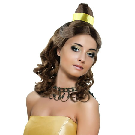 Princess Belle Wig Long Curly Wave Hair with Ribbon for Cosplay Costume Party Dress Up Halloween (Light