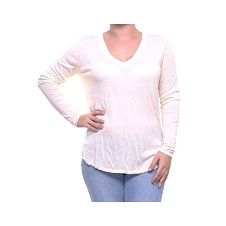 Lauren Ralph Lauren Womens Silk Hi-Low Hem V-Neck Sweater Ivory M Ivory V-neck Sweater