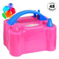 Portable Dual Nozzle 600W 110V Electric Balloon Pump Inflator (Includes 48 Assorted Balloons)