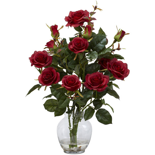 Nearly Natural Rose Bush Silk Flower Arrangement with Vase, Red