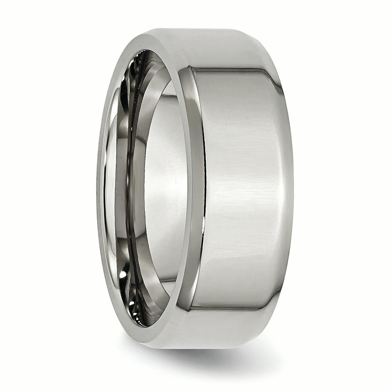Stainless Steel Beveled Edge 8mm Wedding Ring Band Size 8.00 Classic Flat W/edge Fashion Jewelry Gifts For Women For Her - image 4 of 6