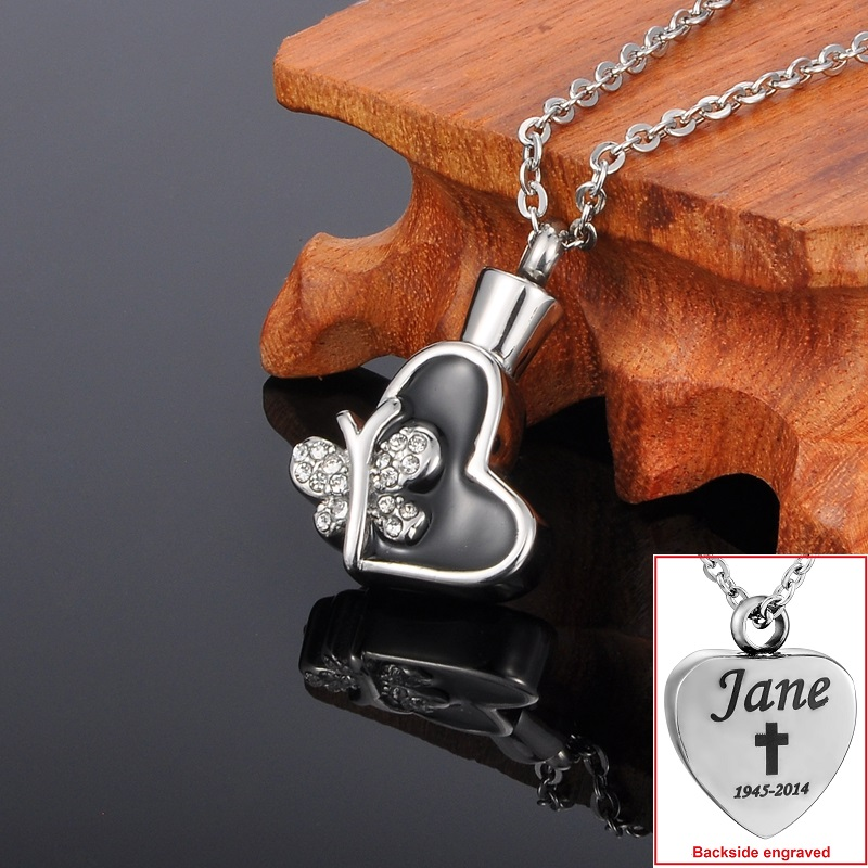 Personalized Butterfly Heart Cremation Jewelry Keepsake Memorial Urn Necklace