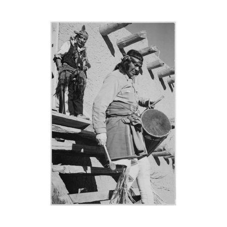 Indian Descending Wooden Stairs With Drum, Dance San Ildefonso Pueblo New Mexico 1942 Print Wall Art By Ansel Adams