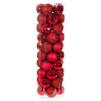 Red Christmas Decorations (Red Matte, Shiny & Glitter Ball Ornaments Small Shatterproof Christmas Ornaments Decorations 50)