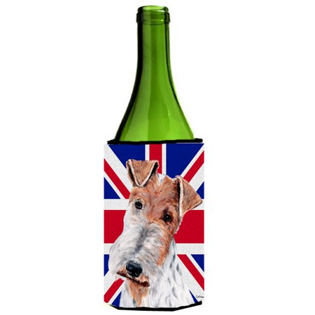 Wire Fox Terrier with English Union Jack British Flag Wine Bottle Beverage Insulator Hugger SC9887LITERK