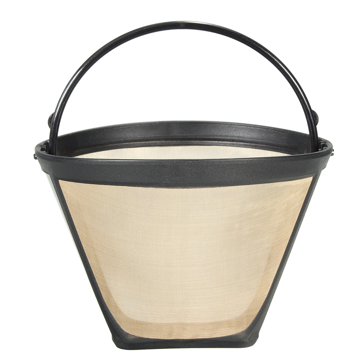 4# Cone Shape Coffee Filter Handled Stainless Mesh Basket Maker Reusable Permanent New by