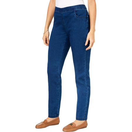 Karen Scott Womens Petites Comfort Waist Pull On Straight Leg Jeans Blue PS