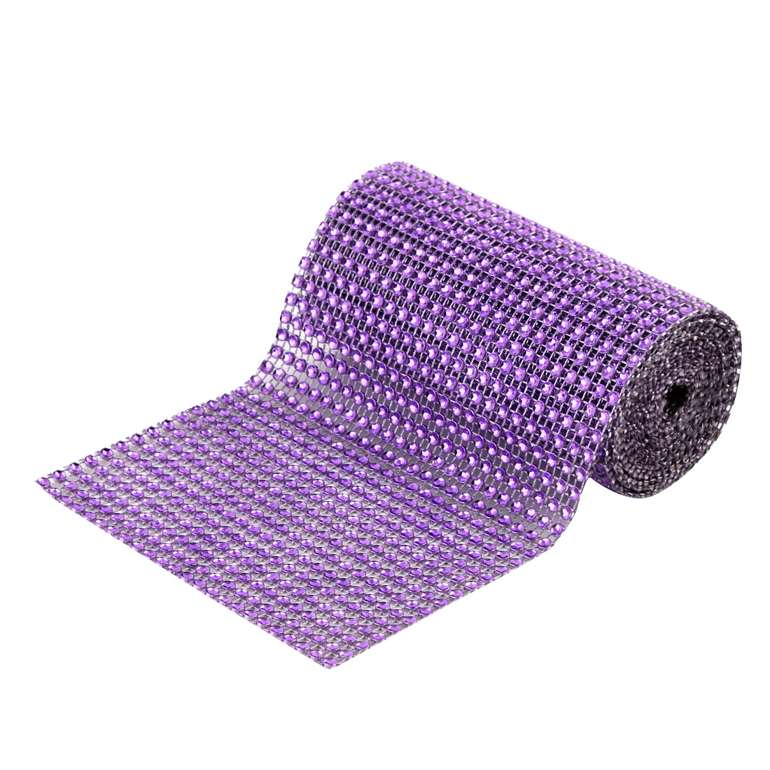 Wedding Party Plastic Cake Decoration Mesh Diamond Ribbon Dark Purple 2 Yard